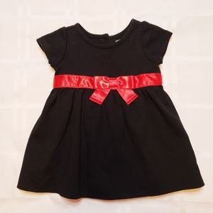 BABY GAP Black Holiday Dress with Satin Red Bow